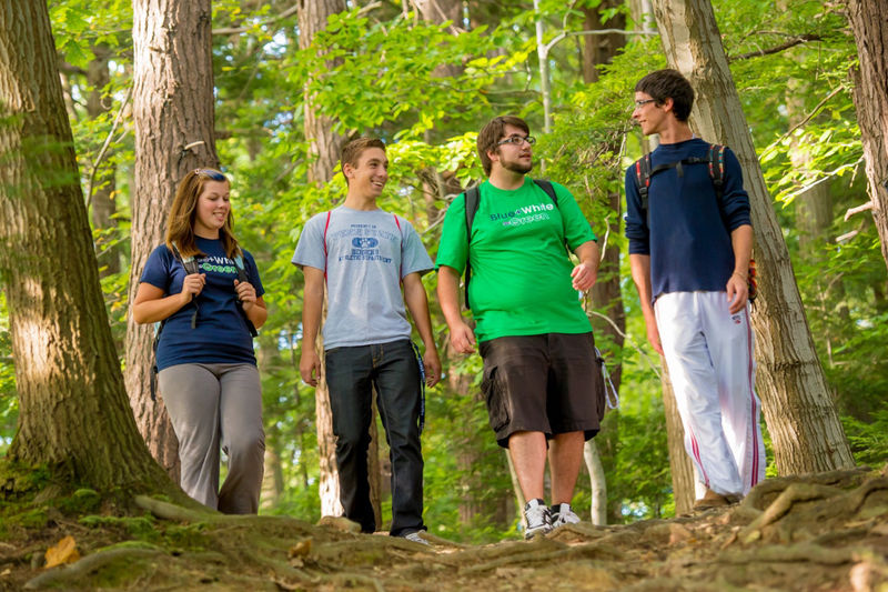 Students walk through Wintergreen Gorge at Penn State Behrend