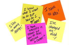 Post-it notes with comments about careers