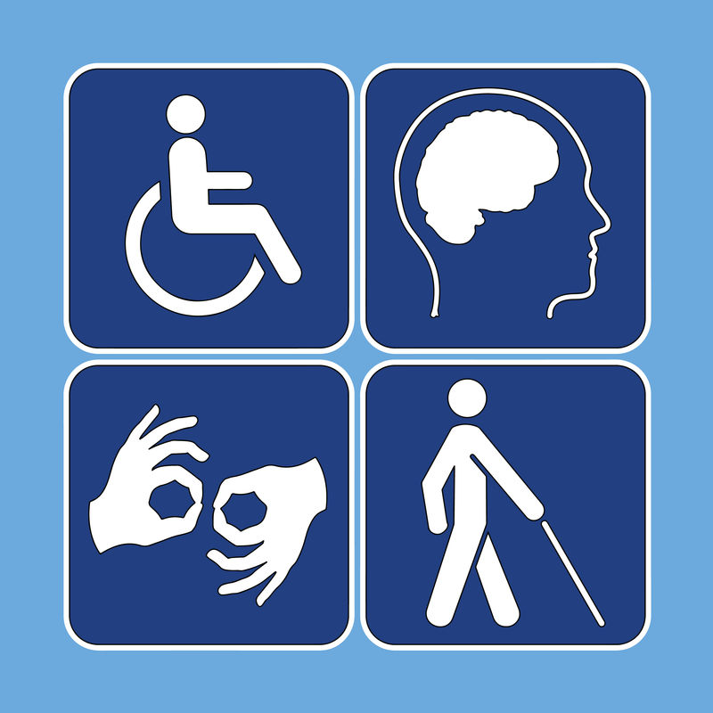 Four disabiliy icons that show a person in a wheelchair, a person with his brain highlighted, two hands performing sign language, and a person walking with a cane.