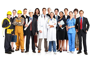 Group of people in different professional clothes from construction worker to doctor to office worker