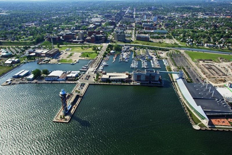 An aerial view of the bayfront area of Erie, PA.