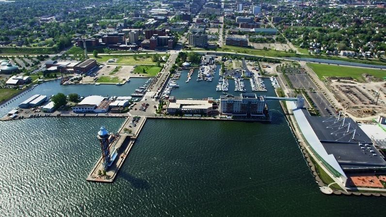An aerial view of Erie's bayfront