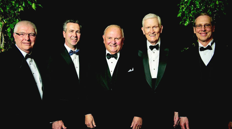 Tom Hagen, center, is flanked by Chancellor Ralph Ford, left, and former campus leaders, from left, Dr. Jack Burke, Dr. John Lilley, and Dr. Don Birx