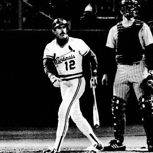 Penn State Behrend alumnus Tom Lawless '80 played parts of eight professional seasons, but he's most remembered for the three-run home run he hit in game four of the 1987 World Series. Here, Lawless is pictured immediately after he hit the ball. Once it was clear that the hit was a home run, Lawless seamlessly flipped the bat over his back, which remains an iconic postseason moment in Major League Baseball history.
