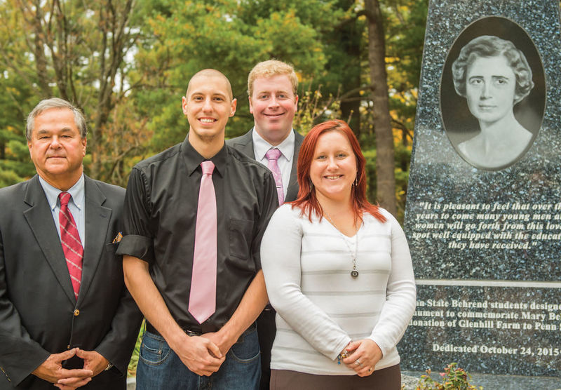 Mary Behrend's grandson, Richard Sayre, left, with students who helped spearhead the project, from left, Ron Radovich, Brennan Zanella, and Haley Sharp.
