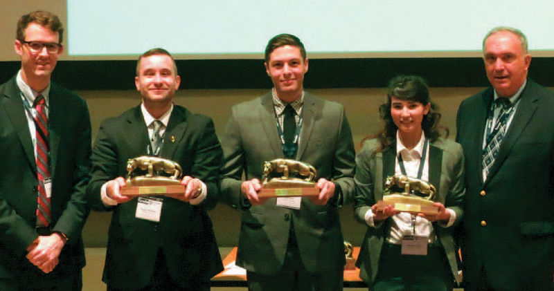 Penn State Behrend won the Case Competition at the NOBE Conference. Students are pictured with their awards, from left, Joseph Helbling, Mechanical Engineering; Matt Nicol, Project and Supply Chain Management; and Amanda Sayko, Industrial Engineering. The students are flanked by NOBE National president, Andrew Quinn, left, and Gary R. Smith, lecturer in management.