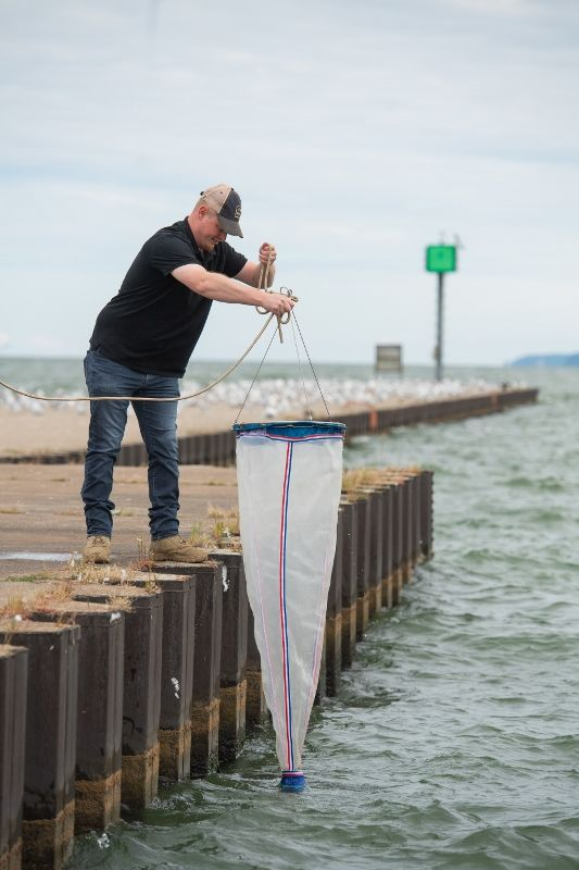 A Penn State Behrend student drops a net into Lake Erie while searching for Hemimysis anomala.