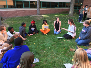 The Quality of Life group enjoy the nice weather as they participate in mentoring activities.