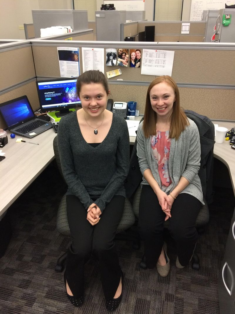 Rachael Pudimat, left, with Bridget Jenkins '16 at All Lines Technology in Pittsburgh.