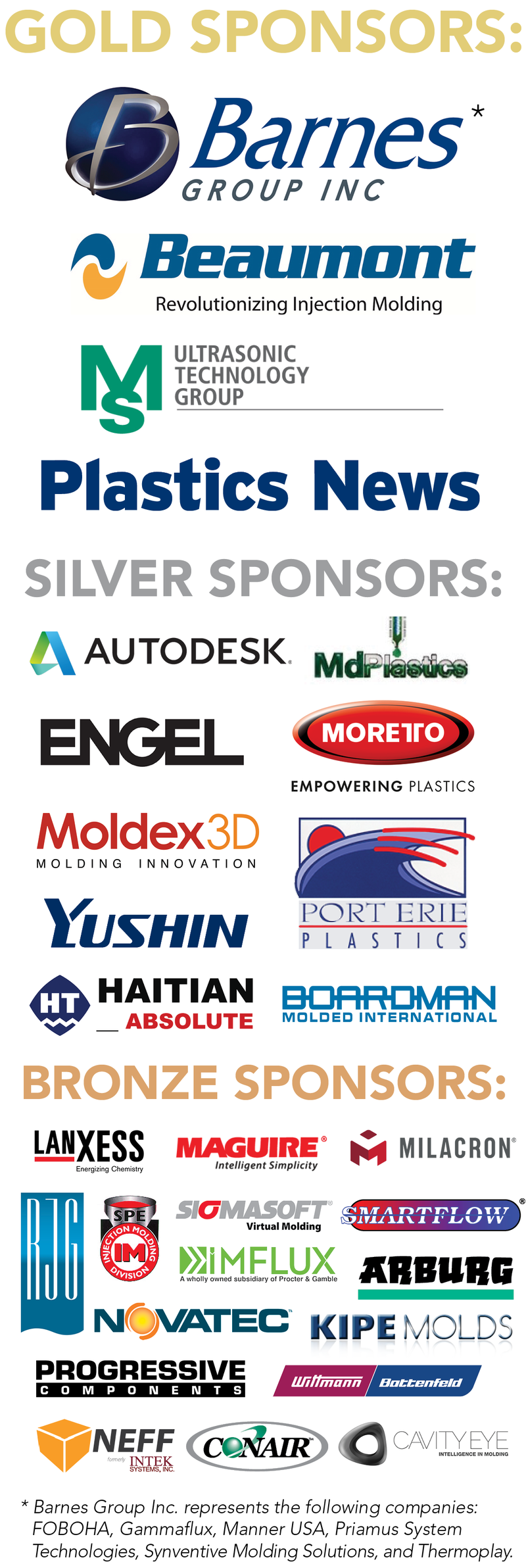 Sponsors of the Injection Molding Conference