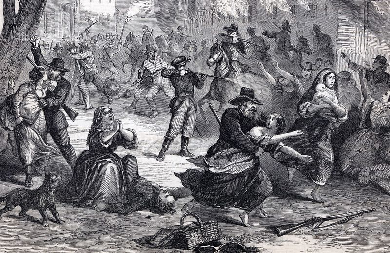A drawing of the attack on Lawrence, Kansas, in 1863