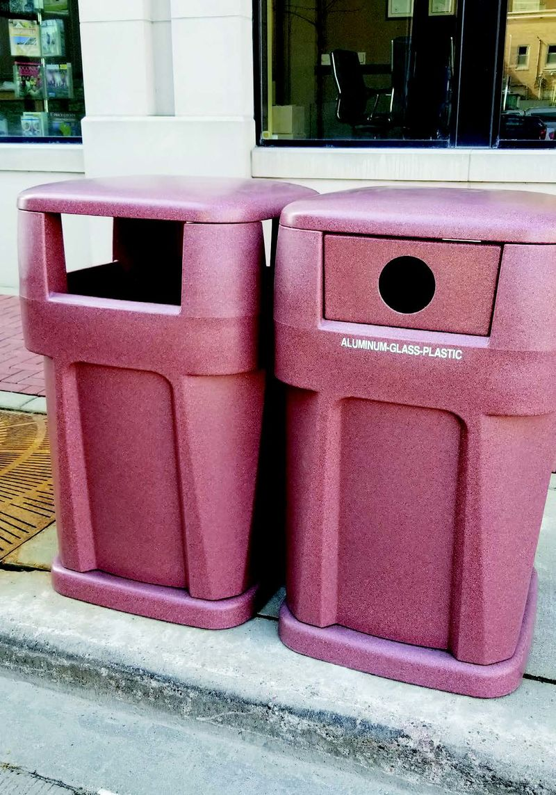 Trashcans designed by students from Penn State Behrend's plastics engineering technology program