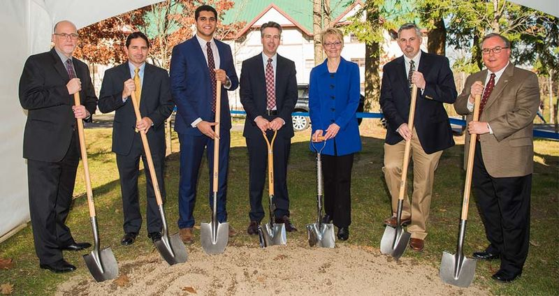 On hand for the November 18 groundbreaking of Trippe Hall were, from left, Stewart Christenson, of Noelker and Hull Associates; Joseph Milicia Jr., of Turner Construction; Moustafa Elhadary, a junior Software Engineering major and president of the college's student government association; Ralph Ford, chancellor; Gail Hurley, associate vice president for auxiliary and business services for Penn State; Mike Lindner, director of housing and food services at Penn State Behrend; and Chris Hurley, senior director