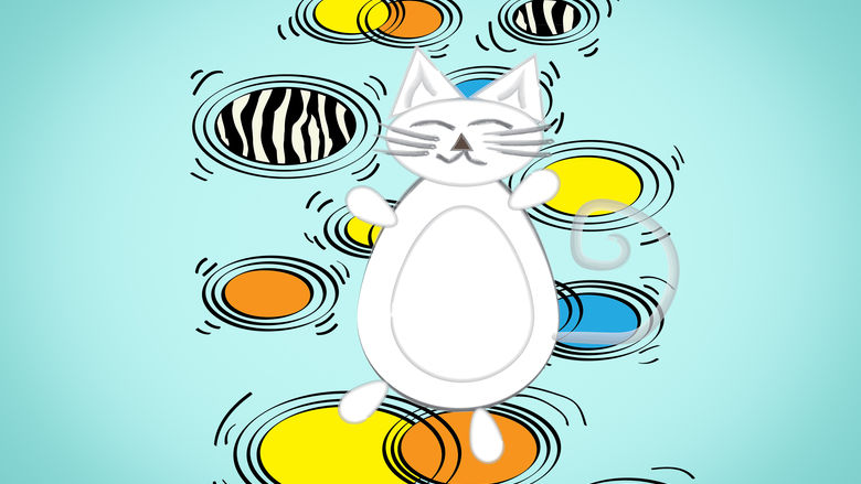 An illustration of a cartoon cat standing on several different pools of color.