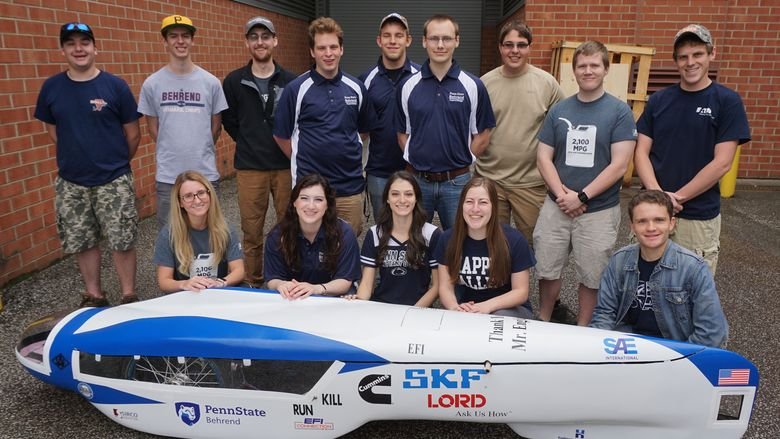Behrend's SAE Club's 2017 vehicle, pictured, traveled 2,418 miles on one gallon of gas.