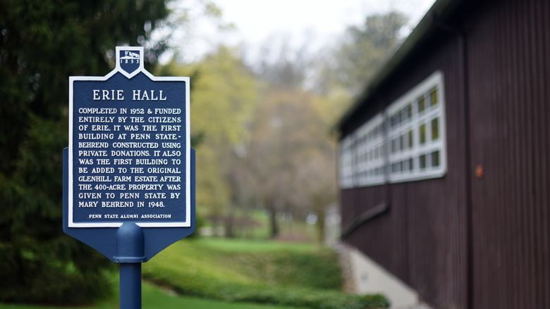 Historic marker for Erie Hall