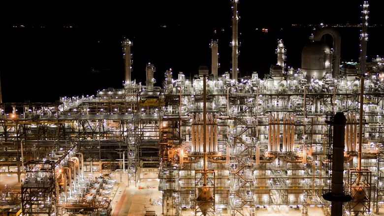 A nighttime photo of an ethane cracker plant