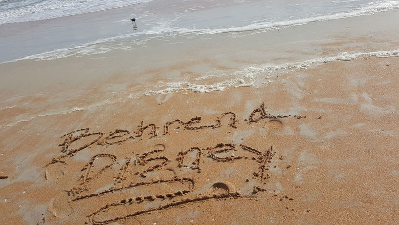 Behrend Disney inscribed into the sand.
