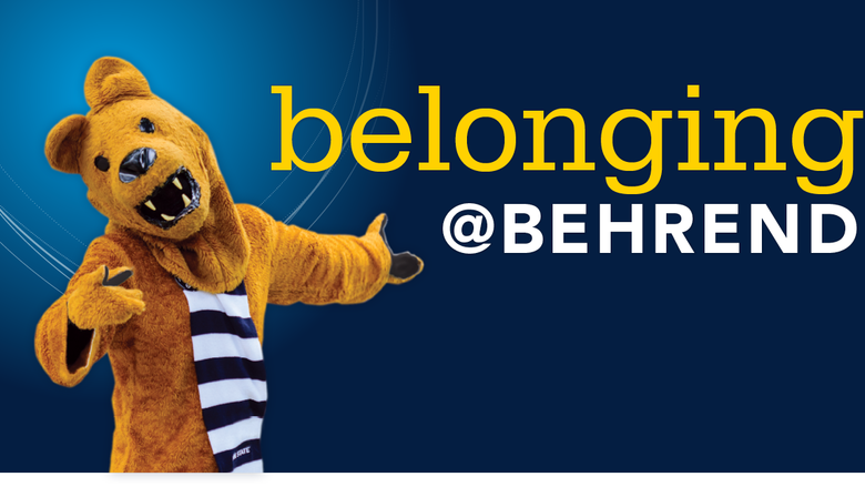"An illustration with the words ""Belonging @ Behrend"" next to the Nittany Lion."