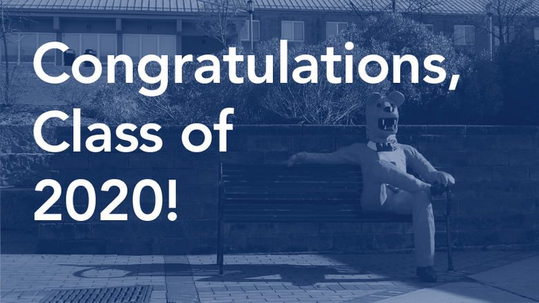 A congratulations message to the Class of 2020, set over an image of the Penn State Behrend Lion bench.
