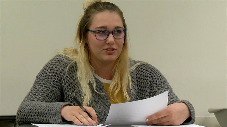 A Creative Writing major at Penn State Behrend discusses her work in class.