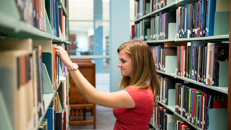 Behrend Student in Lilley Library