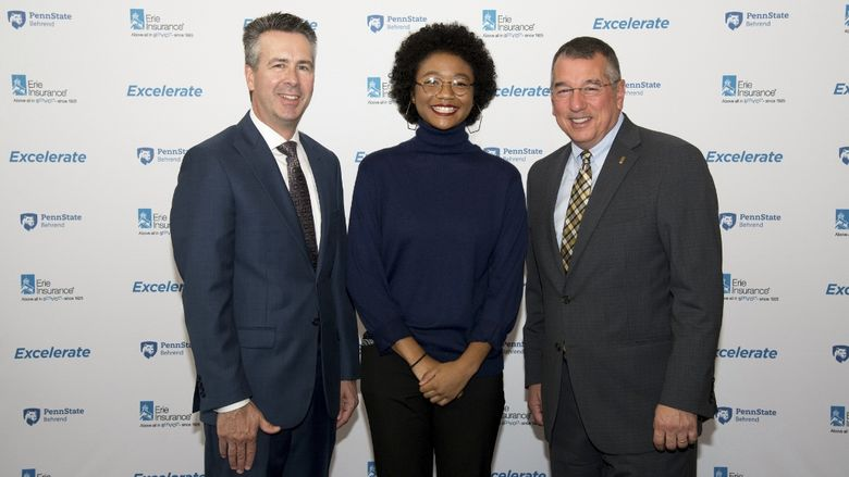 Ralph Ford, Rebecca Olanrewaju and Tim NeCastro pose at the announcement of the Excelerate program at Penn State Behrend.