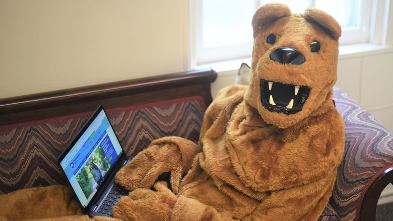 The Nittany Lion works on a laptop while reclining on a couch.