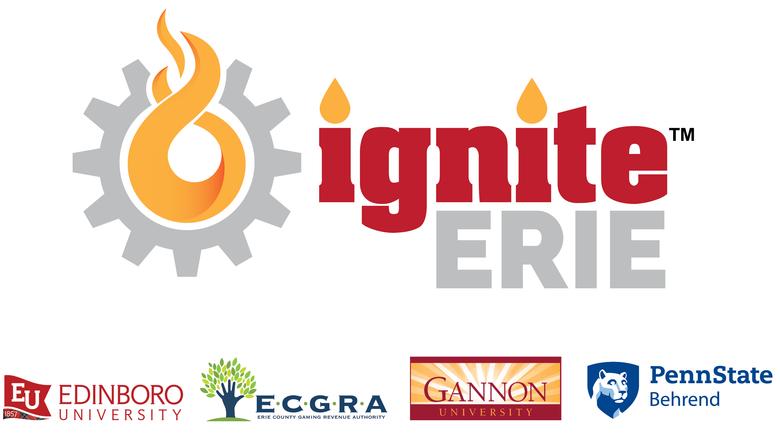 Logo for Ignite Erie, Edinboro University, ECGRA, Gannon University, and Penn State Behrend