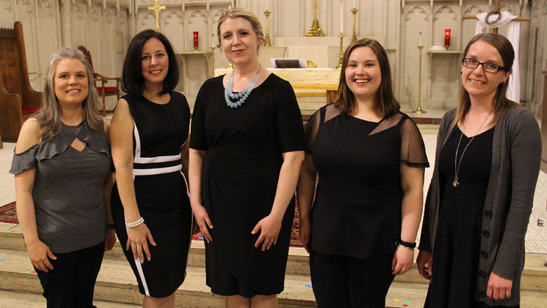 The YPC Erie staff members, pictured from left to right: Emily Cabanillas, pianist, Alyson Amendola, executive director, Gabrielle Dietrich, artistic director and conductor, Marit Bakken, production manager, and Joyce Kriner, pianist.