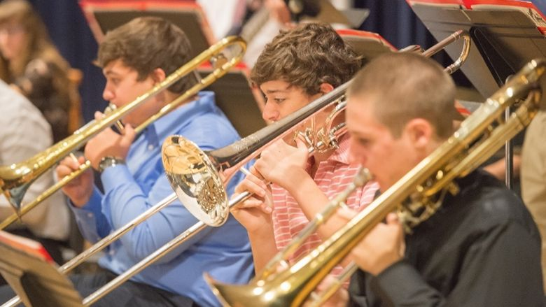Musicians perform in the Jazz Ensemble at Penn State Behrend.