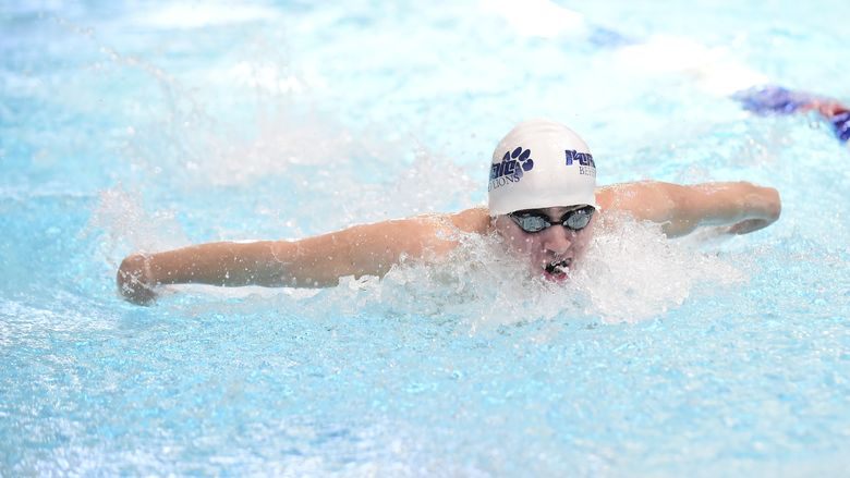 Penn State Behrend swimmer Liam Watterson competes in a race.