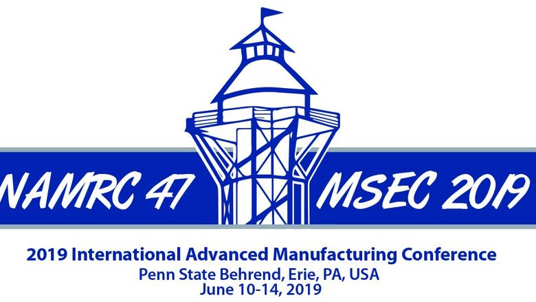 A logo for the NAMRC/MSEC conference at Erie's Bayfront Convention Center