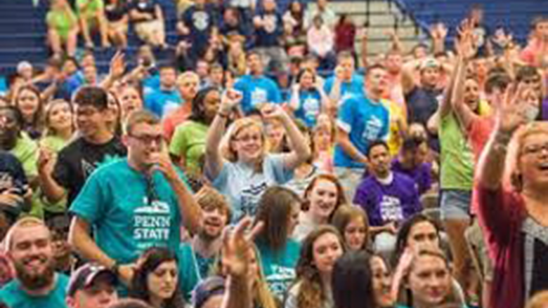 Students in colored t-shirts