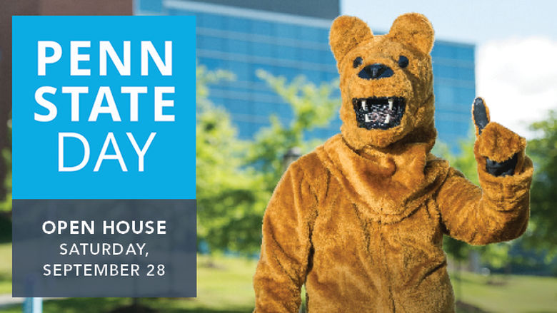 The Penn State Nittany Lion mascot poses in front of Burke Center at Penn State Behrend in a graphic advertising the college's Penn State Day event.