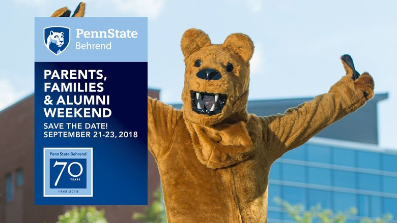 The Nittany Lion stands in front of Burke Center at Penn State Behrend