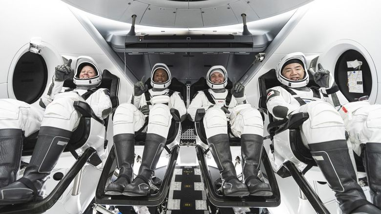The crew of the SpaceX capsule Resilience prepares to launch on a mission to the International Space Station.