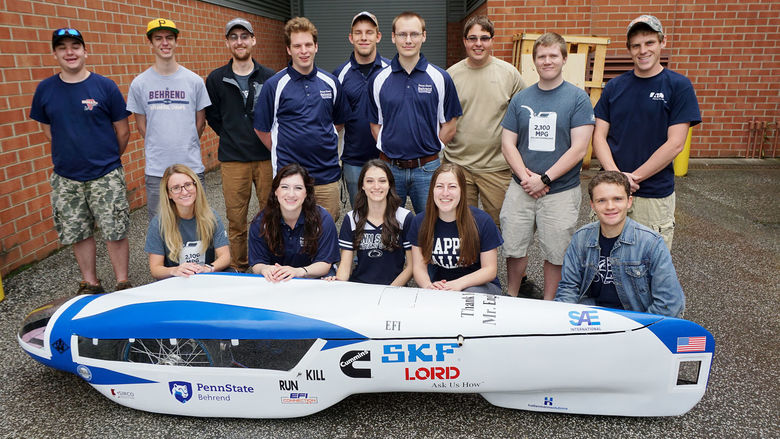 A group photo of the Penn State Behrend supermileage team.