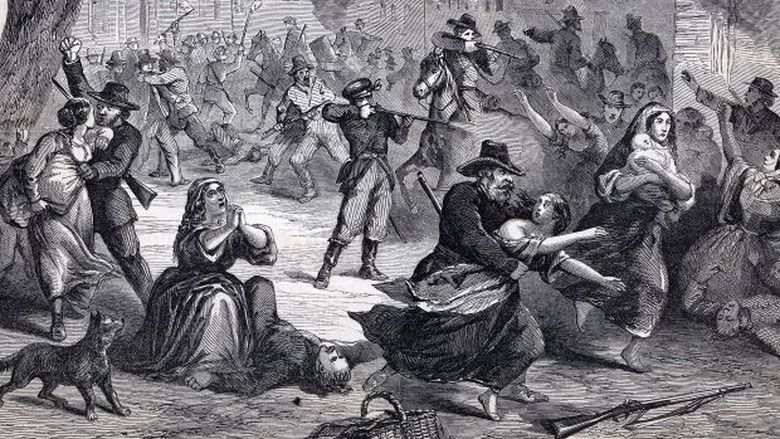 An illustration of the attack on Lawrence, Kansas