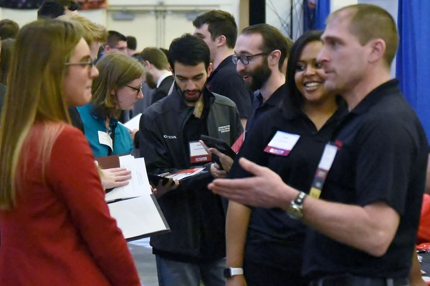 A record 186 companies attended Penn State Behrend's Spring Career and Internship Fair, held March 20 in the college's Junker Center.