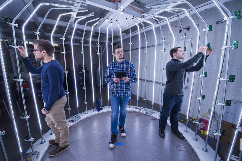 Three students work in Penn State Behrend's Innovation Commons, an ideation and rapid-prototying space.