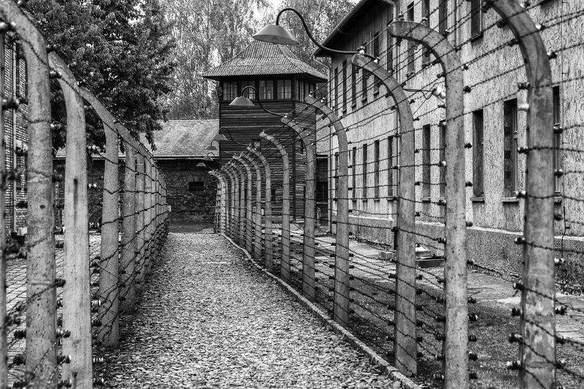 An external photo of a concentration camp from World War II.