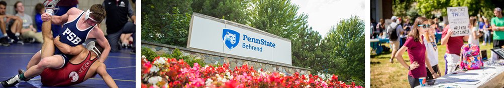 Visit Us photo band shows photos of wrestlers, Penn State Behrend entrance sign, and student organization tables.