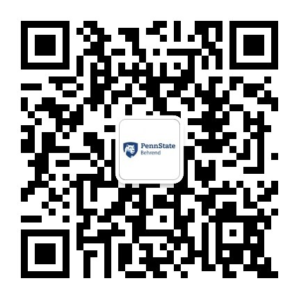 Scan our QR code and follow Penn State Behrend's International Student Services office official WeChat account.